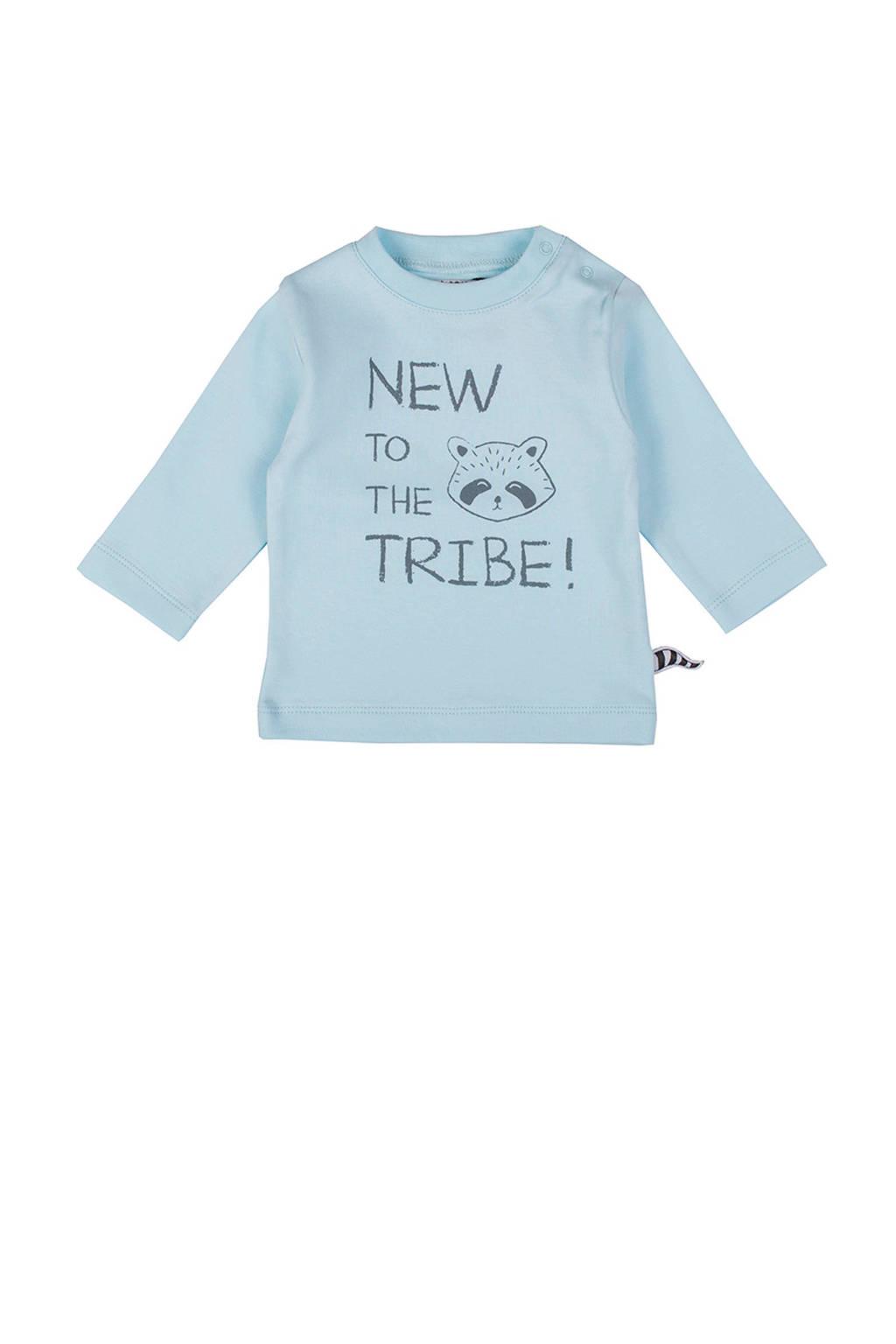 Zero2three baby longsleeve Tribe met tekst blauw, Lichtblauw