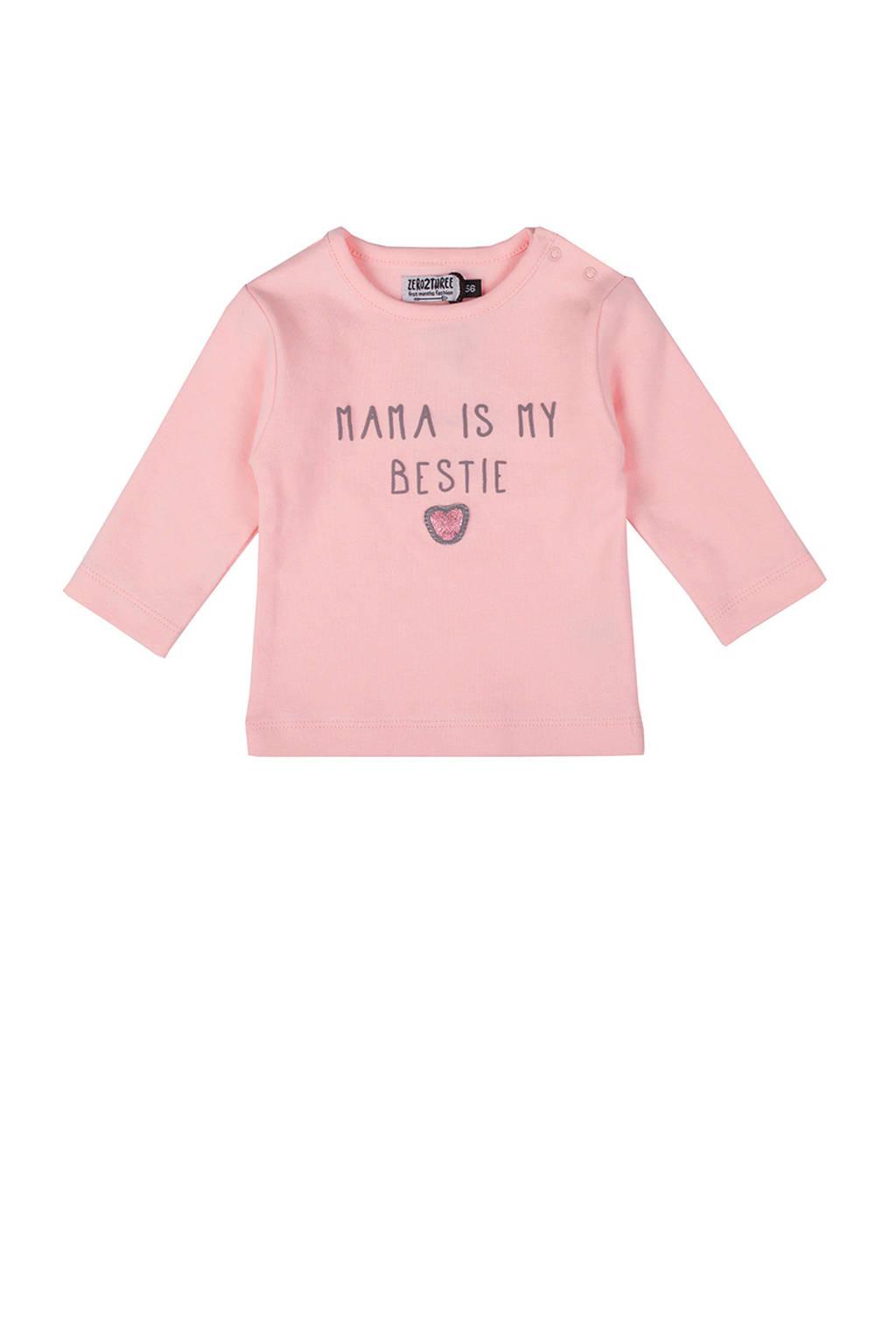 Zero2three baby longsleeve Bestie met tekst roze, Lichtroze