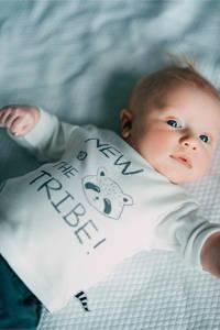 Zero2three baby longsleeve met tekst ecru, Wit