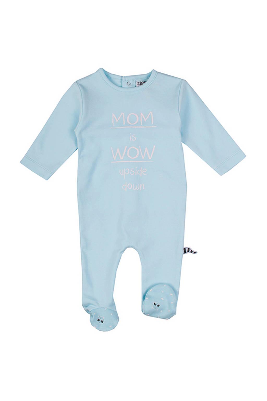Zero2three   newborn baby pyjama Brave met tekst blauw, Blauw