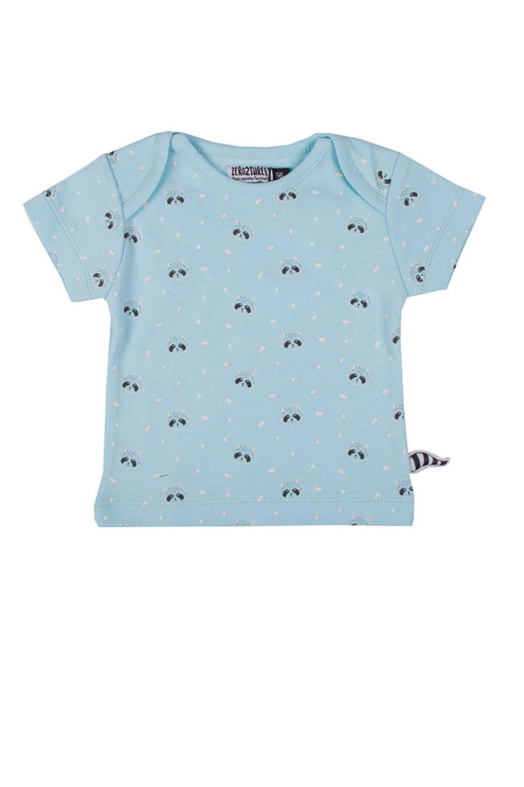 Zero2three baby T-shirt met wasberen blauw, Lichtblauw
