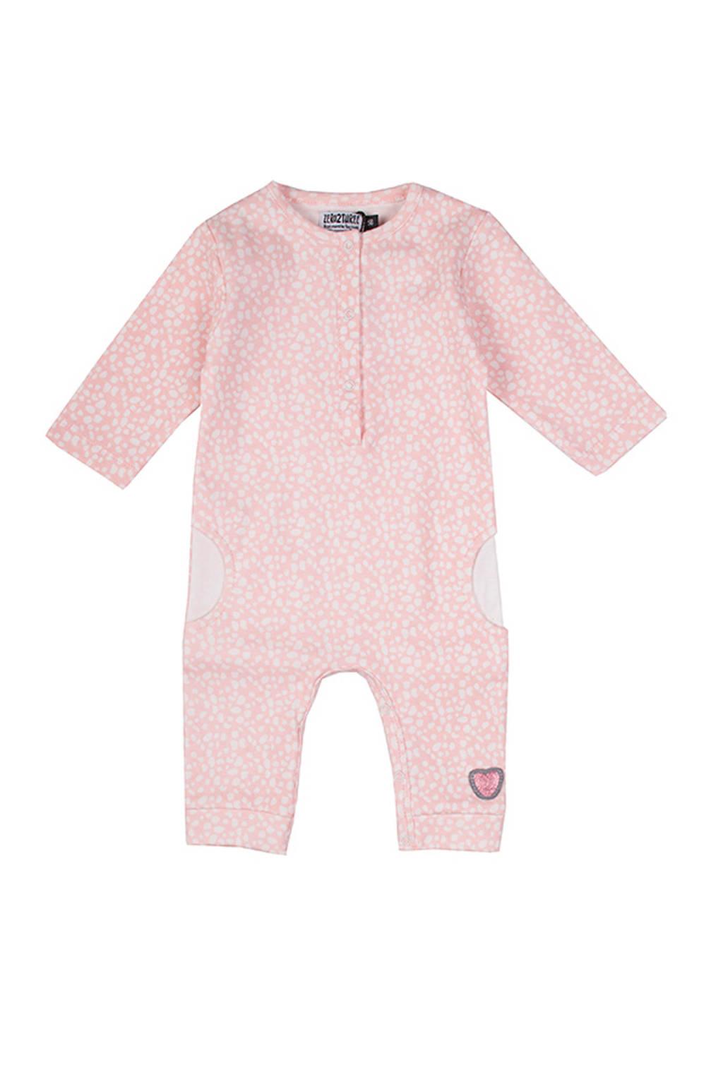 Zero2three baby gestipte boxpak Giraffe roze, Lichtroze