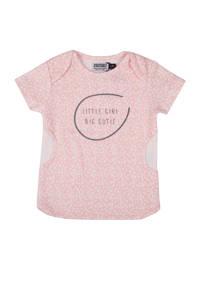 Zero2three baby gestipte T-shirt Giraffe met tekst roze, Lichtroze