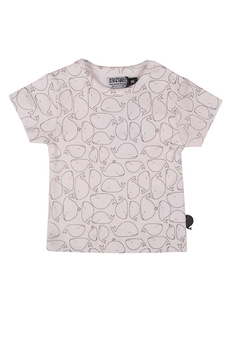Zero2three baby T-shirt Whale met all over print beige, Beige/zwart