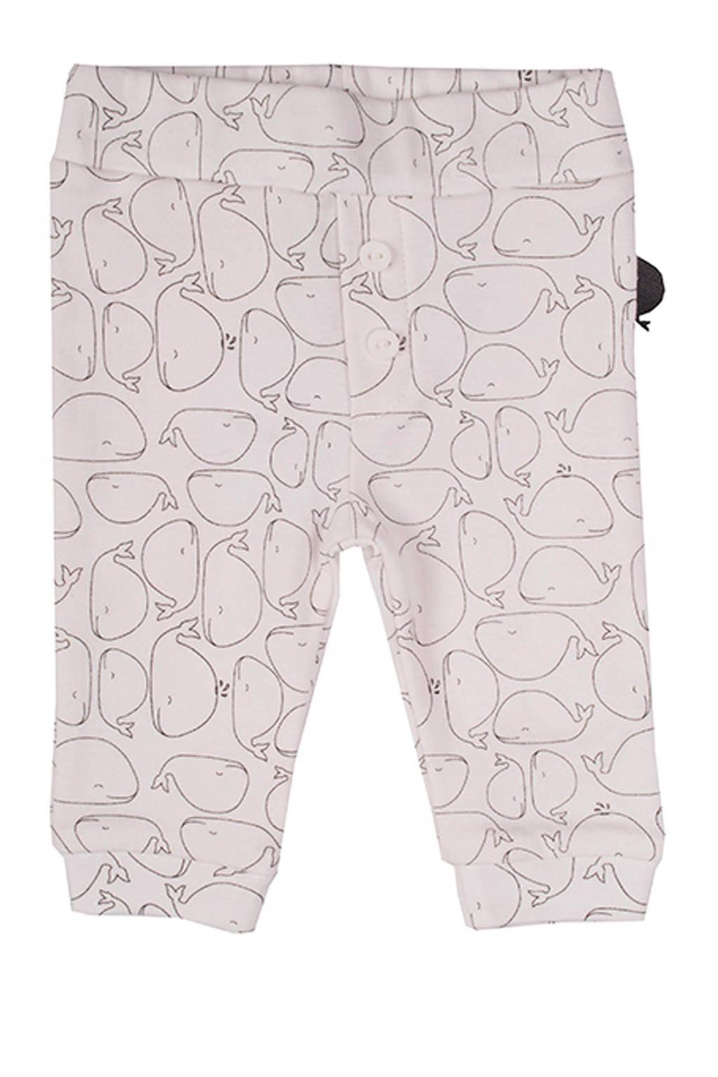 Zero2three baby broek met all over print wit/grijs, Wit/grijs