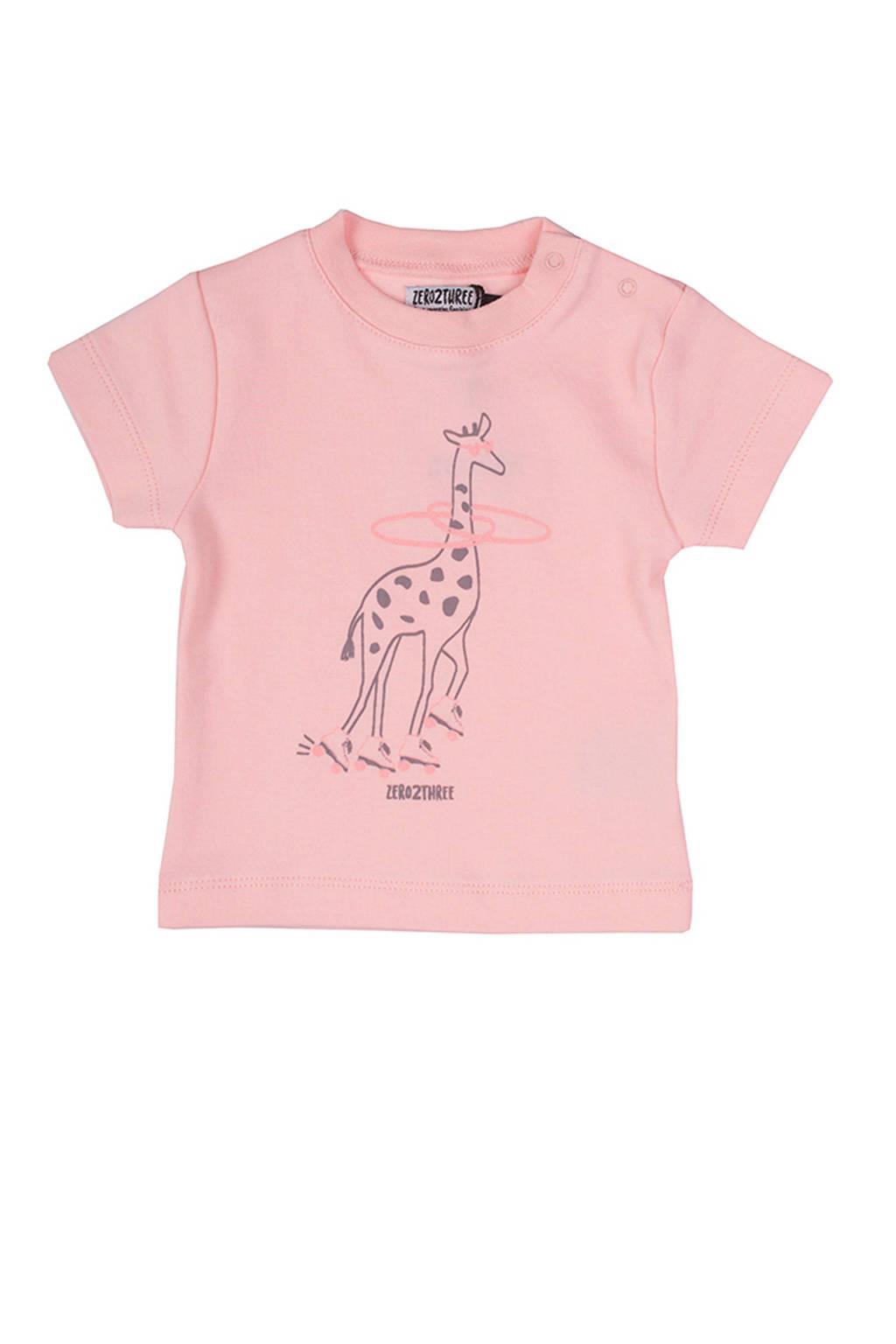 Zero2three baby T-shirt met giraf print roze, Roze