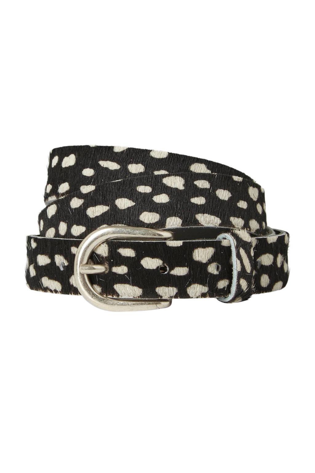 Cowboysbag Cowboysbelt riem met all over print zwart, Zwart/ecru