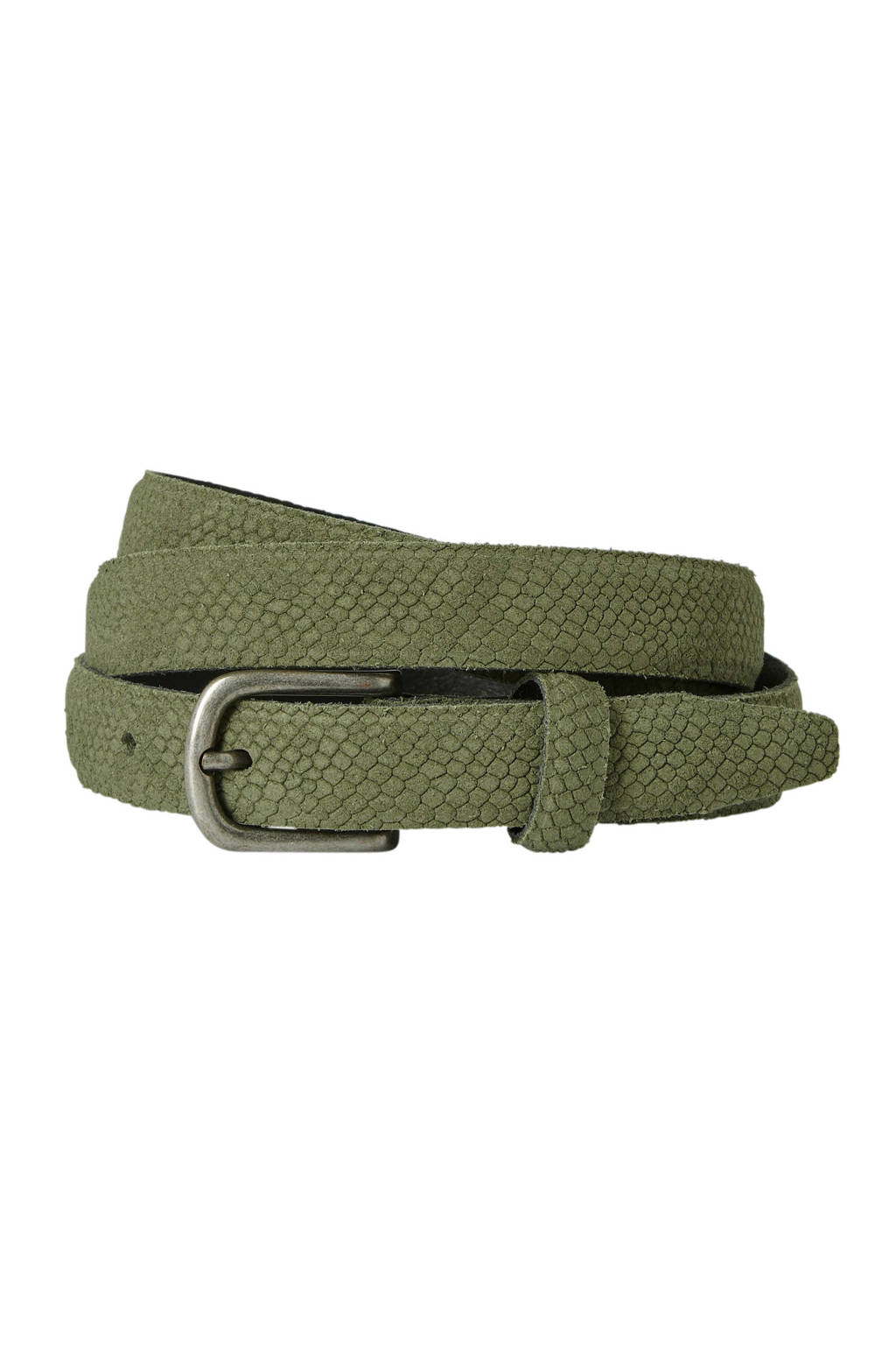 Cowboysbag Cowboysbelt leren riem met imitatieslangenprint groen, Kaki