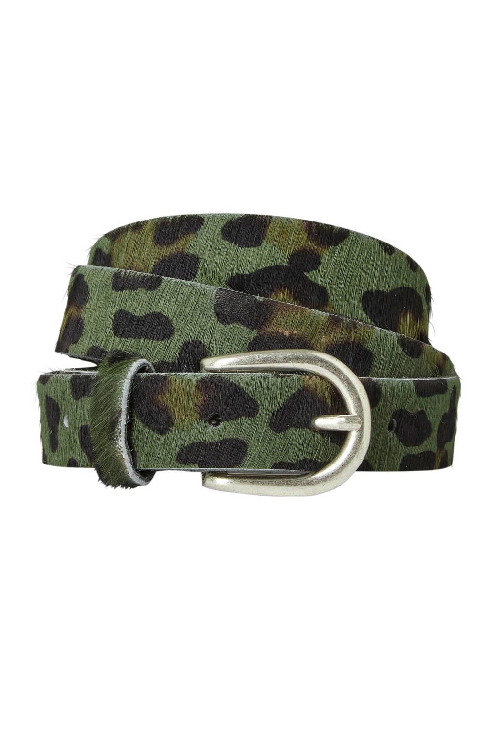 Cowboysbag Cowboysbelt riem met camouflage print, Groen/zwart/bruin