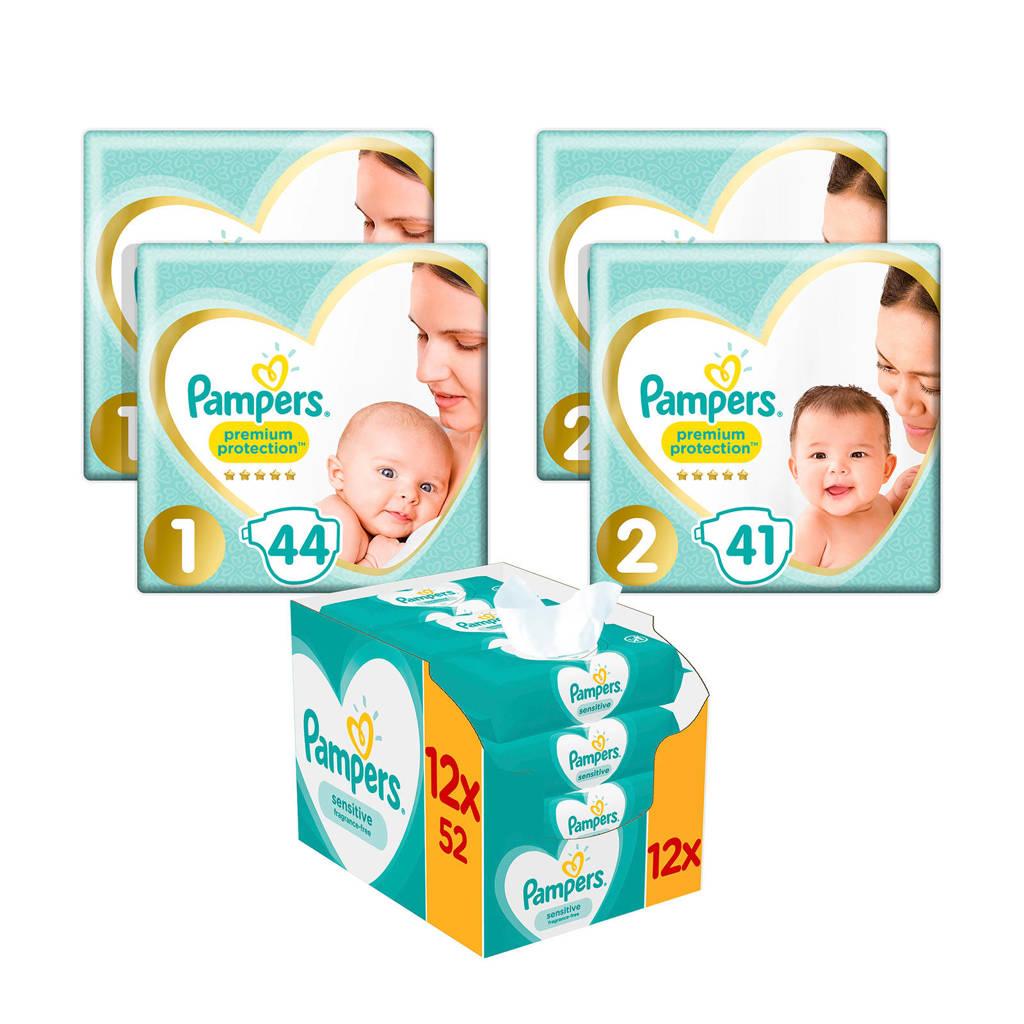 Pampers Premium Protection starterspakket maat 1+2 (2-8 kg) 170 luiers + 624 Sensitive babydoekjes (12 x 52)