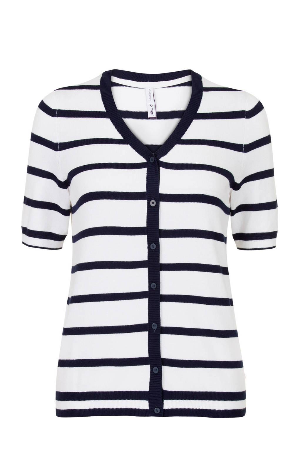 Miss Etam Regulier gestreept vest wit, Wit/blauw