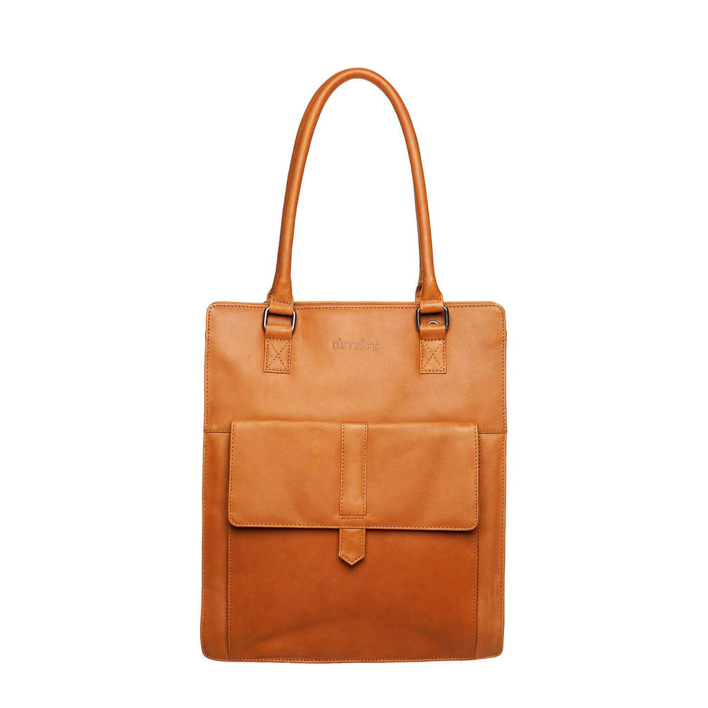 DSTRCT Wax Lane 14 inch leren shopper met laptopvak, Cognac