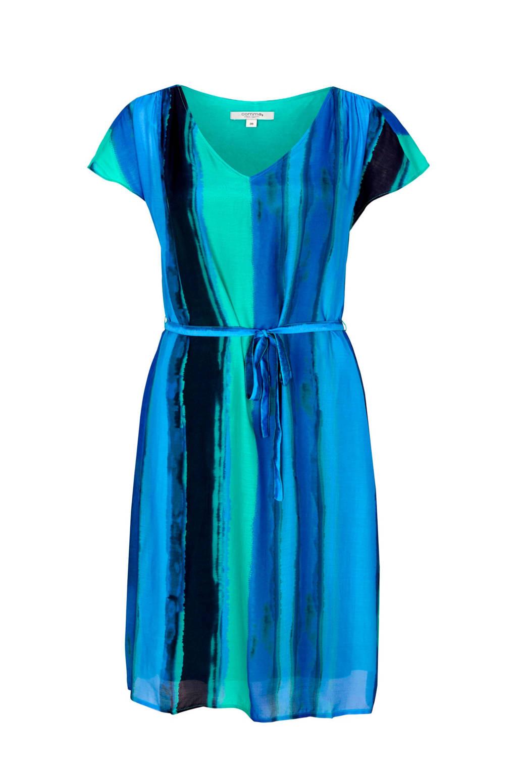 comma casual identity gestreepte jurk met zijde blauwgroen