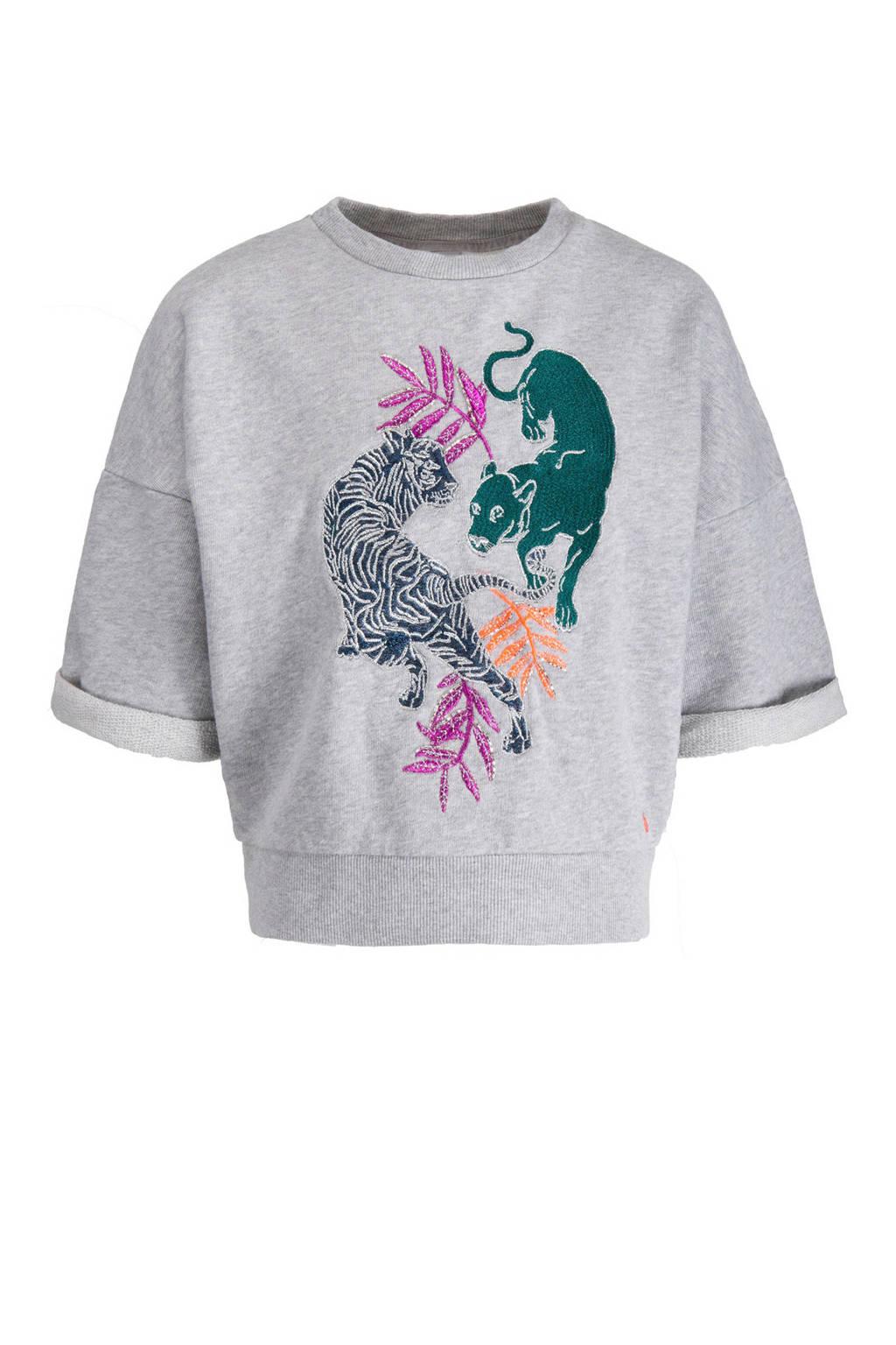 CKS KIDS sweater Lavender met geborduurde tijgers grijs, Grijs