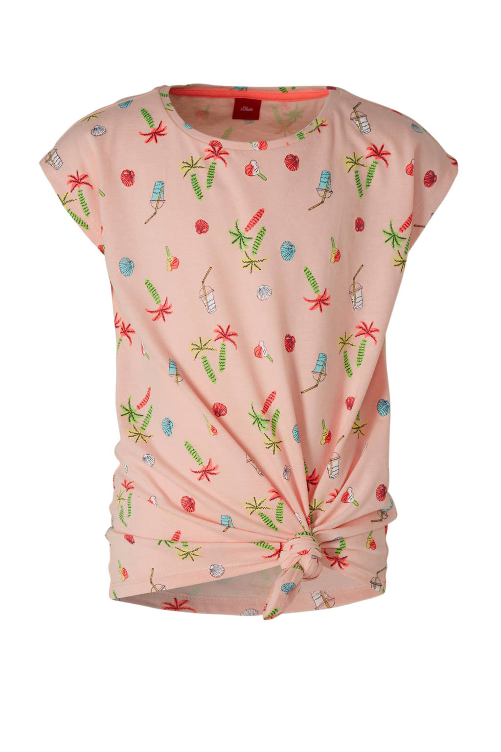 s.Oliver T-shirt met all over print en knoopdetail roze, Roze