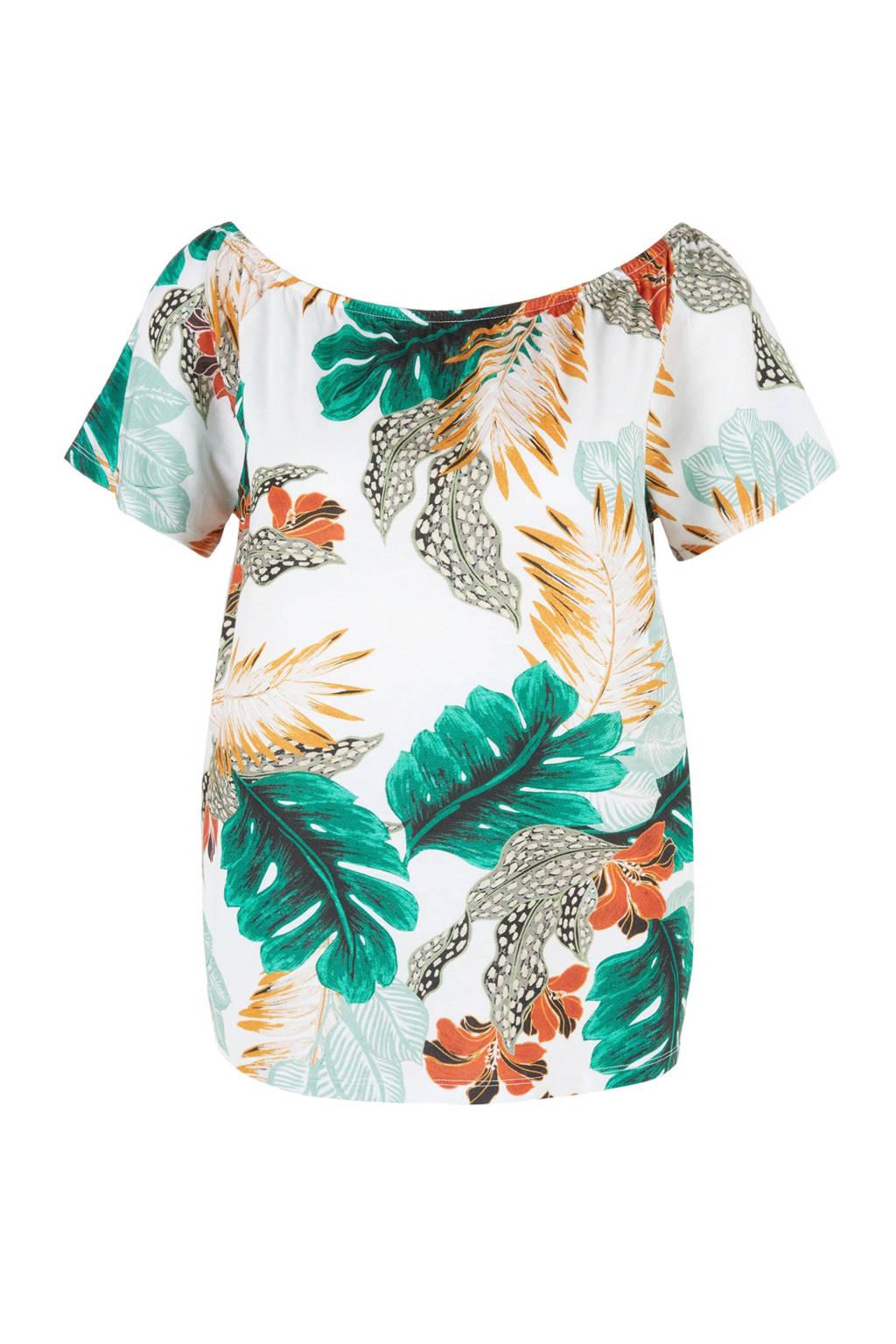 TRIANGLE T-shirt met bladprint wit/groen, Wit/groen