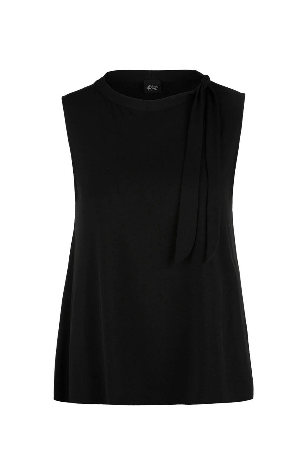 s.Oliver BLACK LABEL top met sierstrik zwart, Zwart