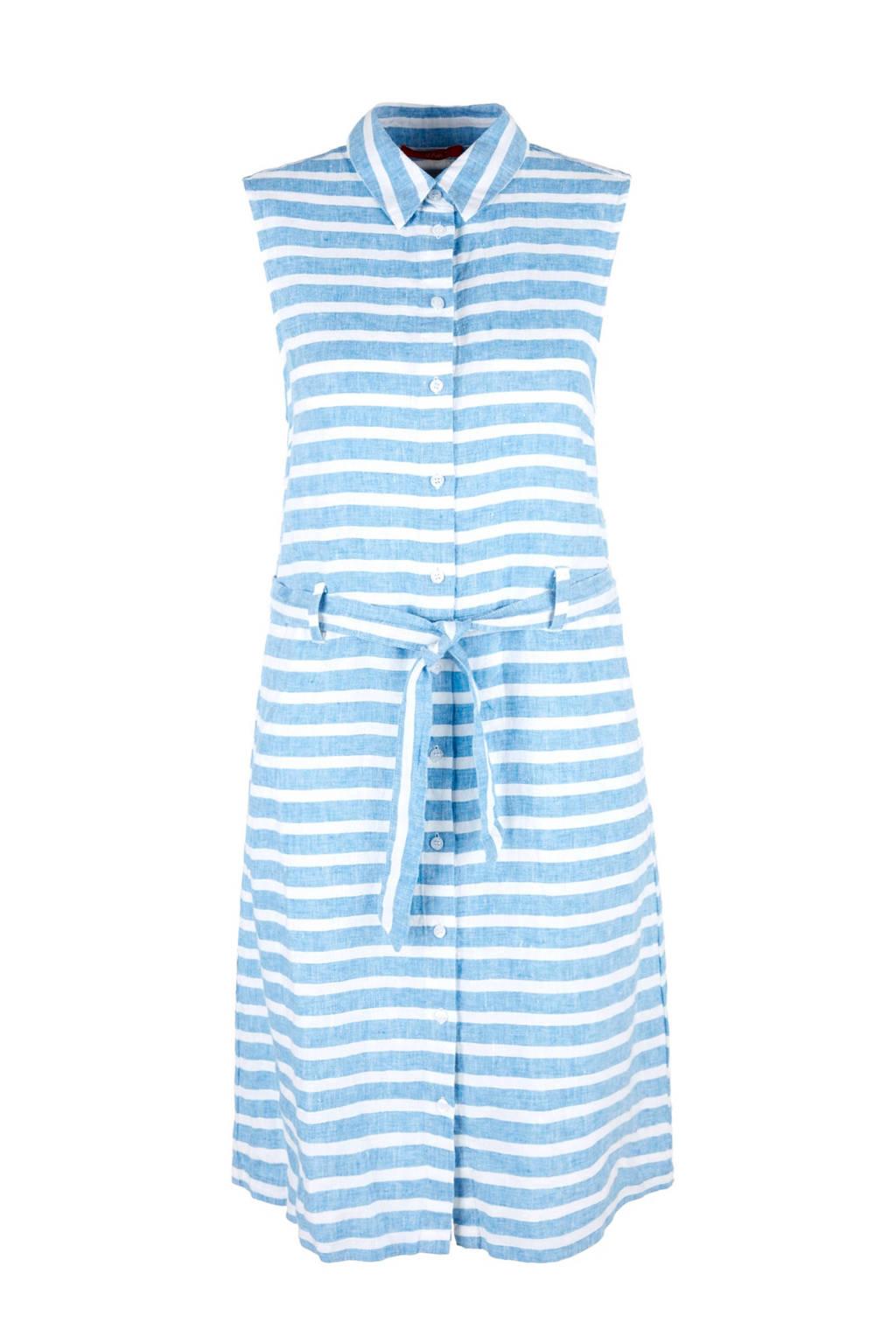 s.Oliver gestreepte linnen blouse jurk blauw, Lichtblauw/wit