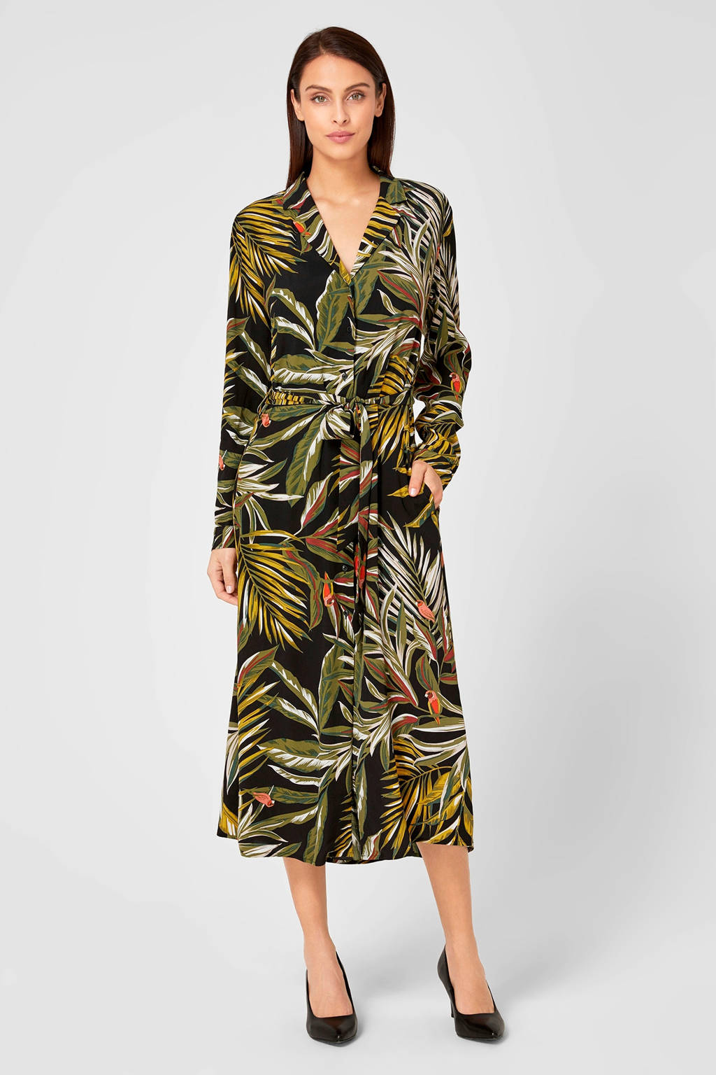s.Oliver BLACK LABEL blousejurk met bladprint, Zwart