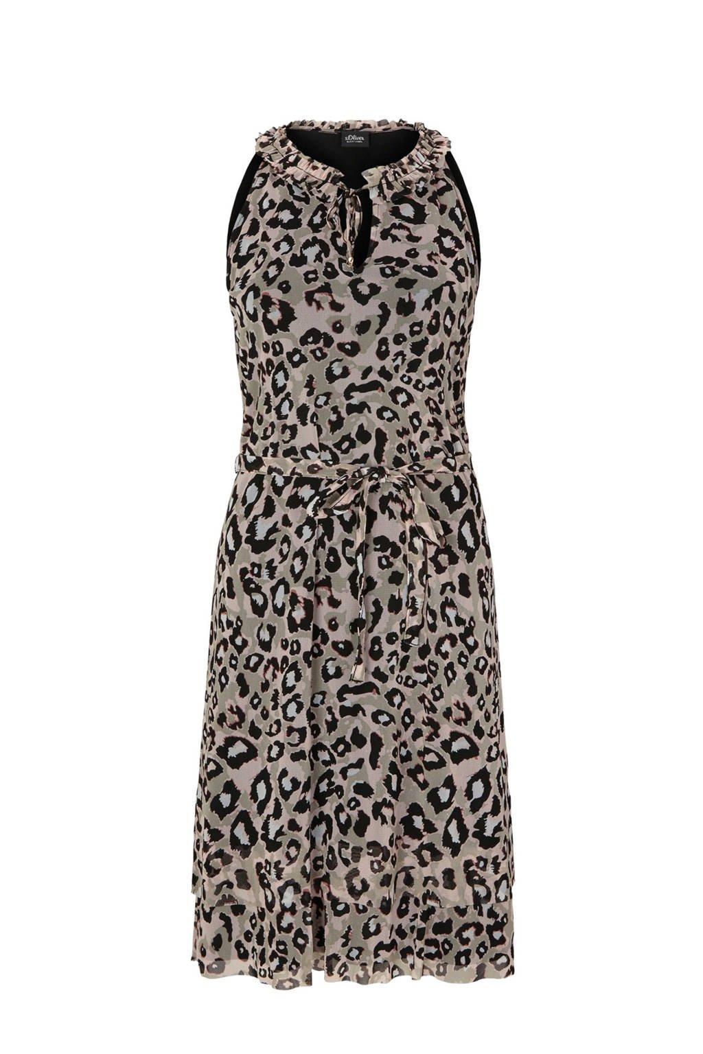 s.Oliver BLACK LABEL jurk met panterprint, Bruin