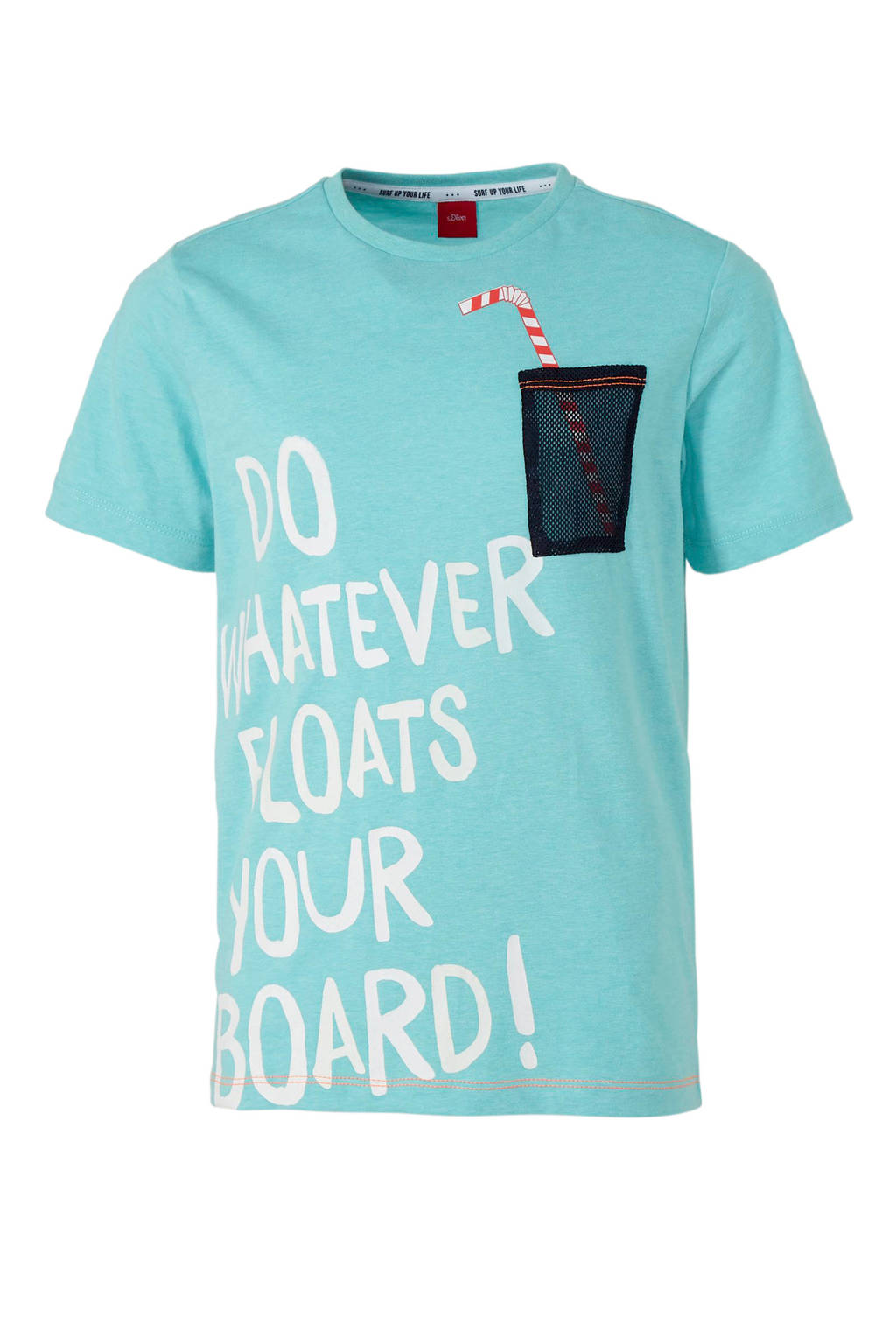 s.Oliver T-shirt met tekst turquoise, Turquoise/wit