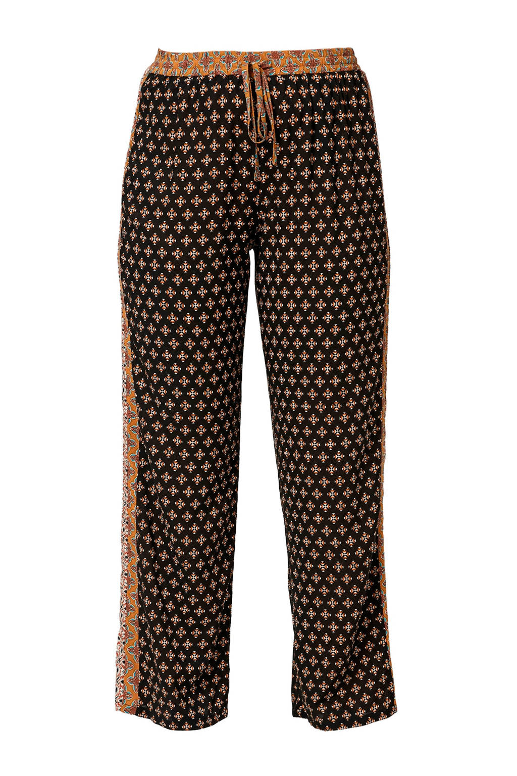 TRIANGLE straight fit broek met all over print zwart, Zwart