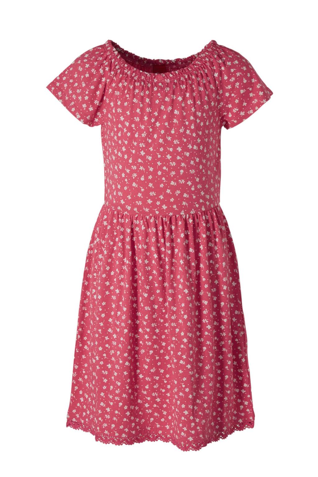 s.Oliver gebloemde off shoulder jurk roze, Roze