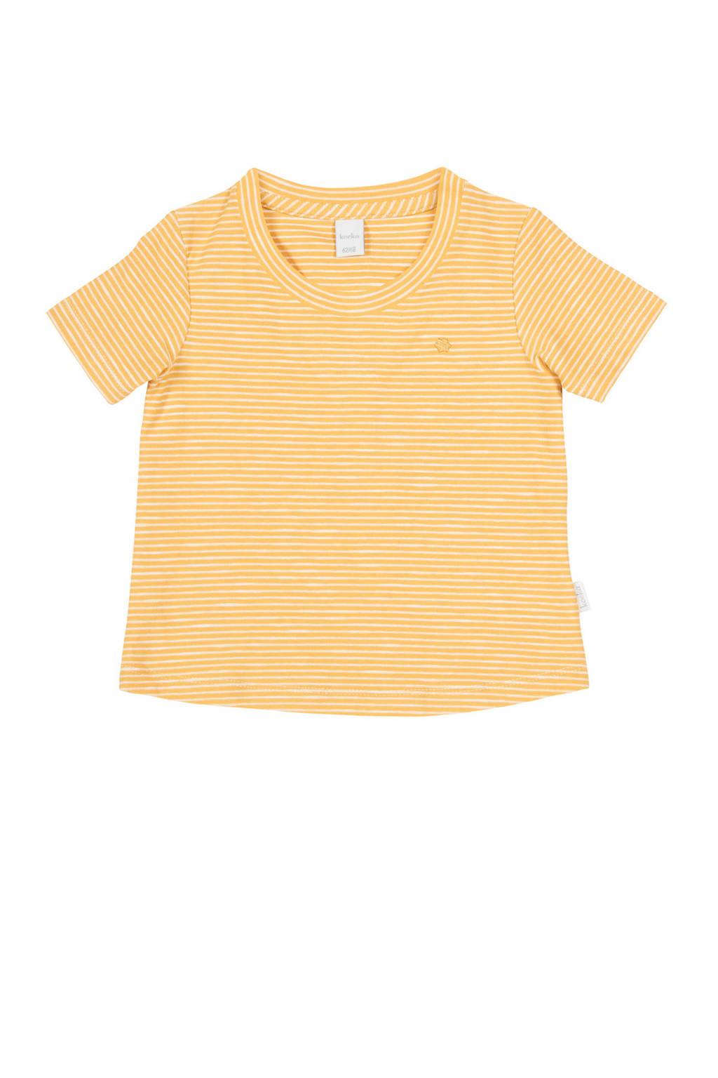 Koeka newborn baby gestreept T-shirt Linescape oker, Oker/wit