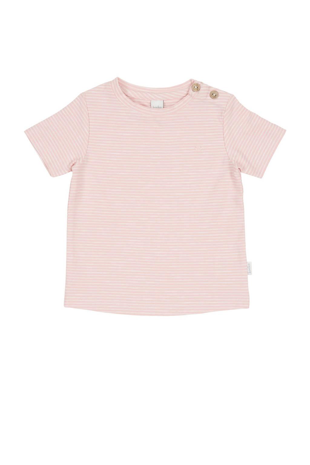 Koeka newborn baby gestreept T-shirt Linescape roze, Roze/wit