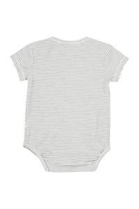 Koeka newborn baby gestreepte romper Linescape wit, Wit/grijs