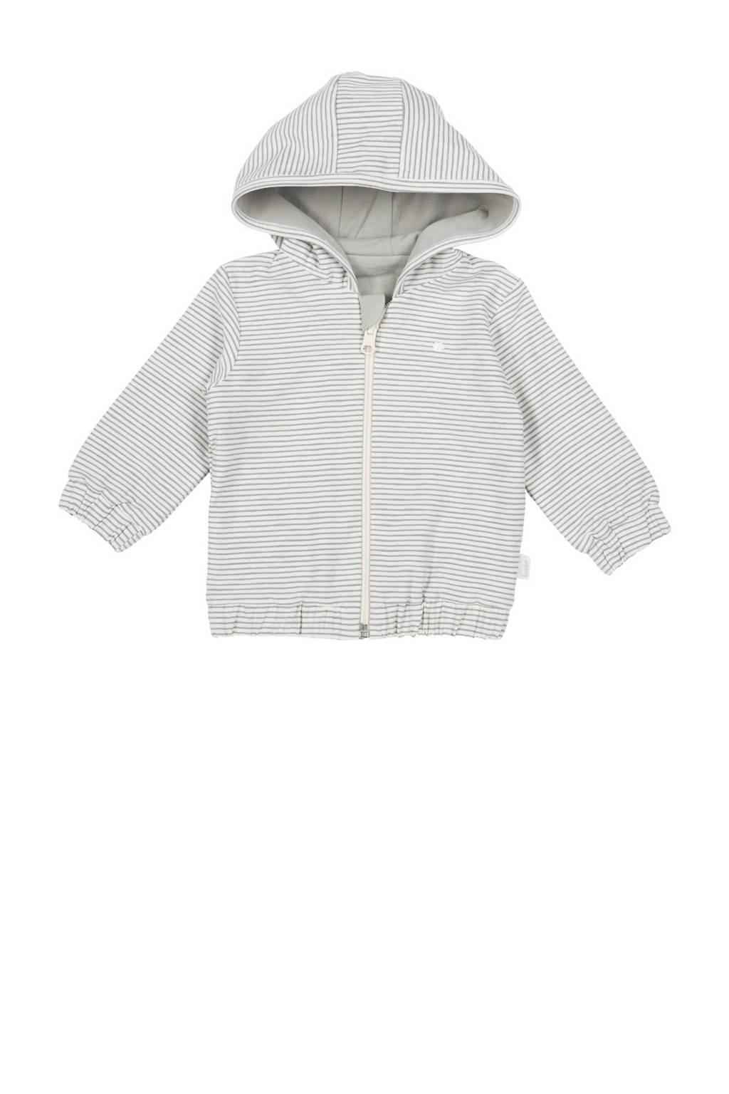 Koeka newborn baby gestreept vest Linescape wit, Wit/grijs