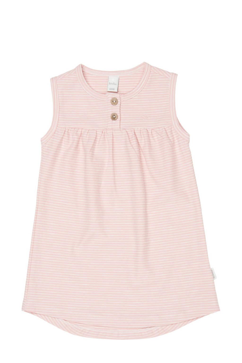 Koeka newborn baby gestreepte jurk Linescape roze, Roze/wit