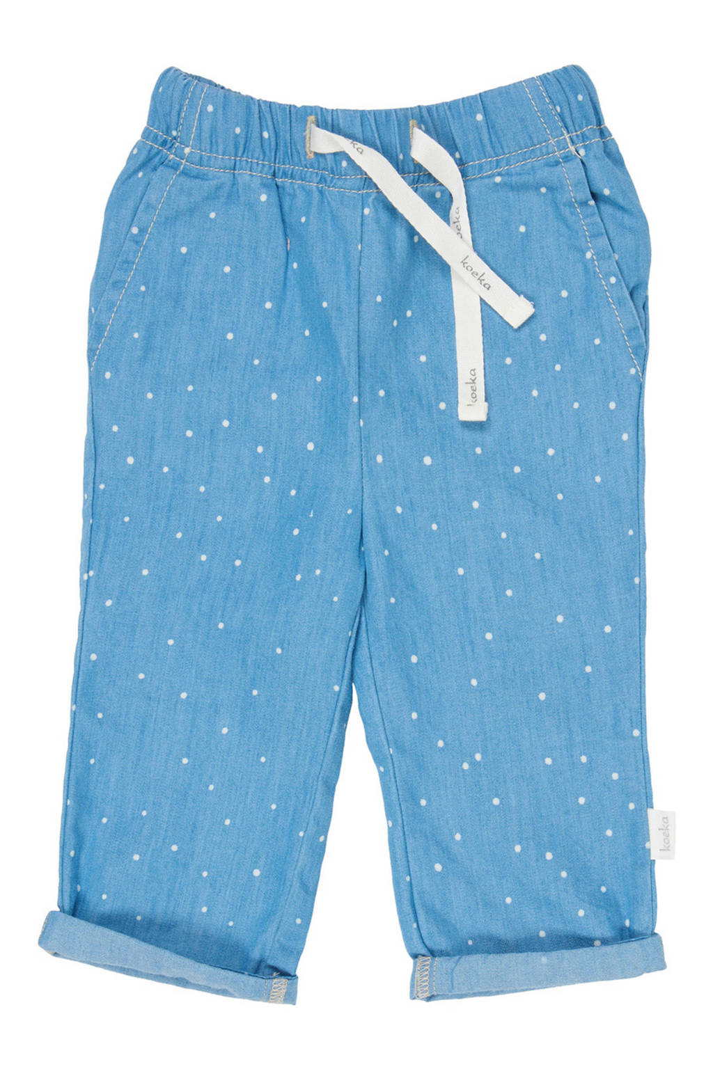 Koeka baby loose fit jeans Dotty Days met stippen, Light denim