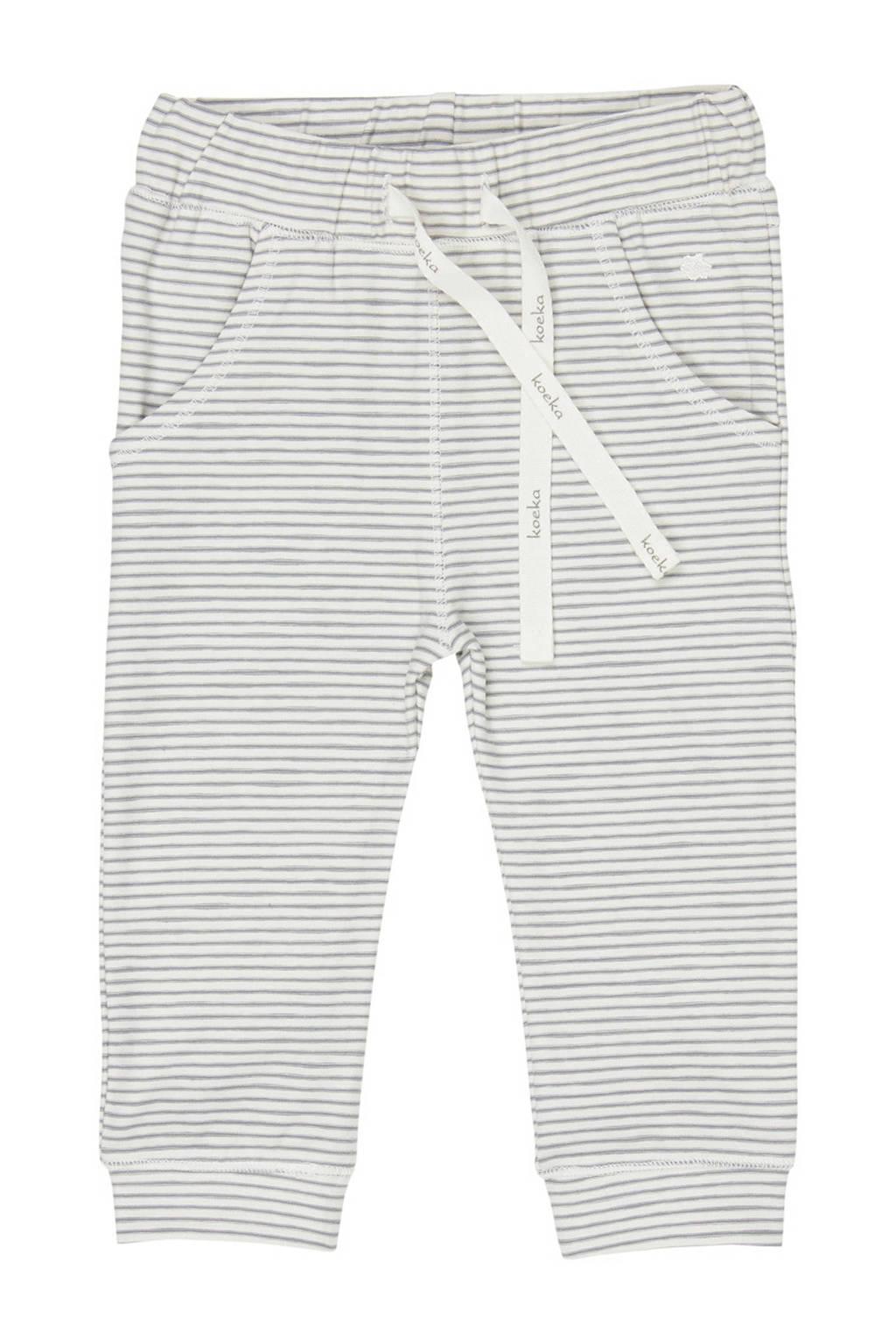 Koeka baby gestreepte broek Linescape wit/grijs, Wit/grijs