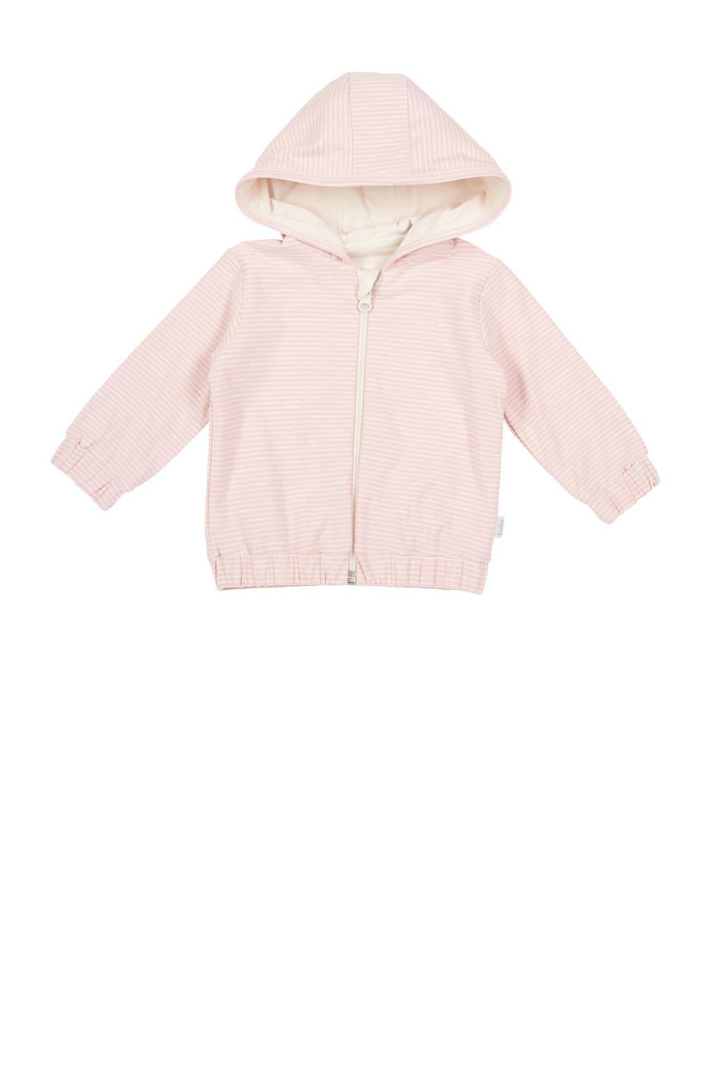 Koeka newborn baby gestreept vest Linescape roze, Roze/wit