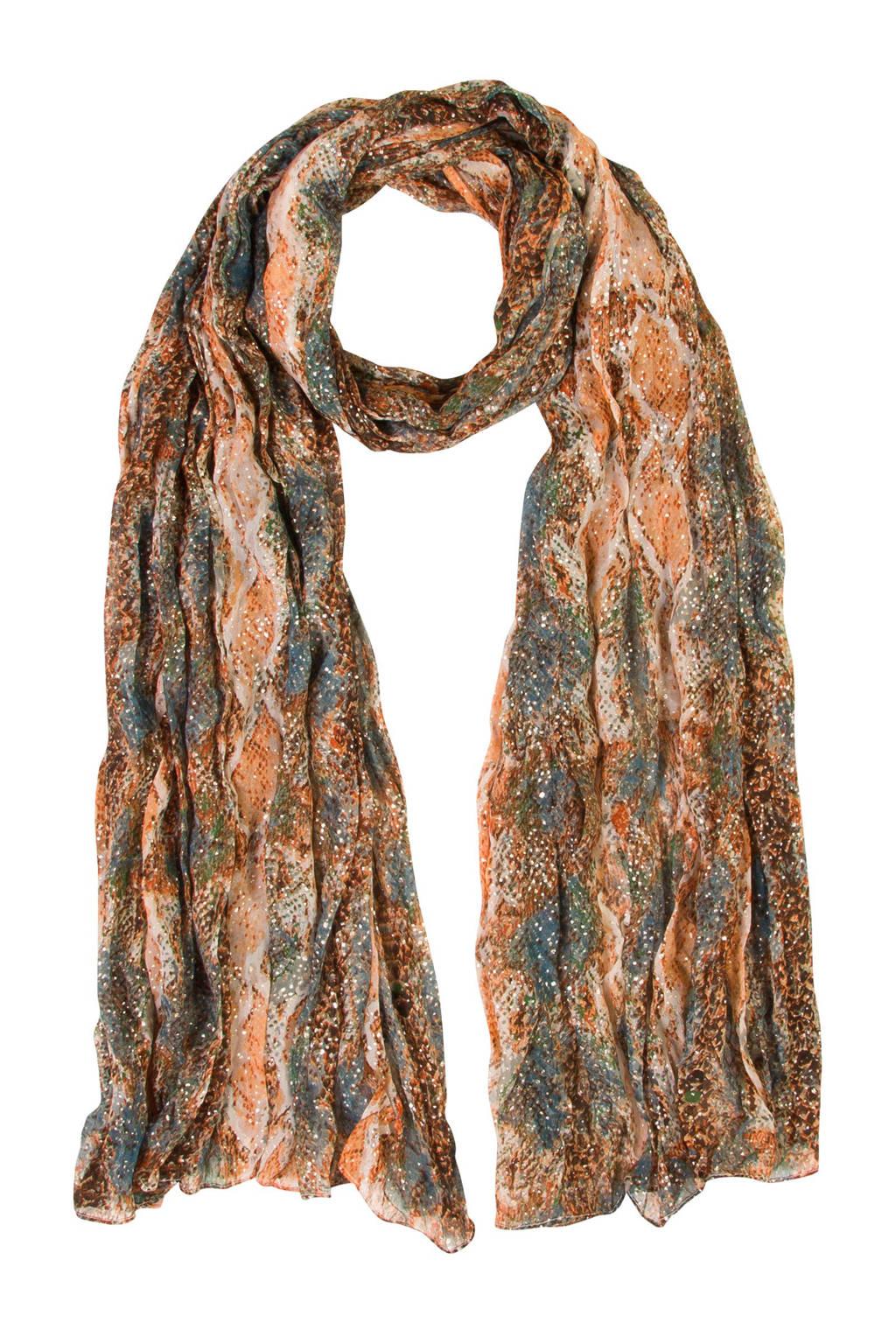 Miss Etam Accessoires sjaal met all over print, Bruin/groen/oranje/ecru