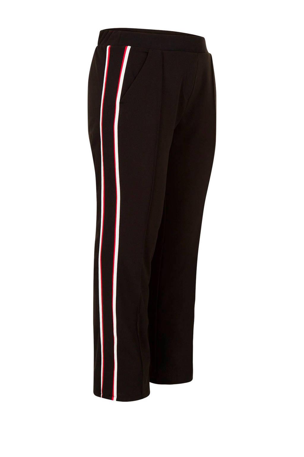 Miss Etam Plus pantalon met contrasterende bies, Zwart