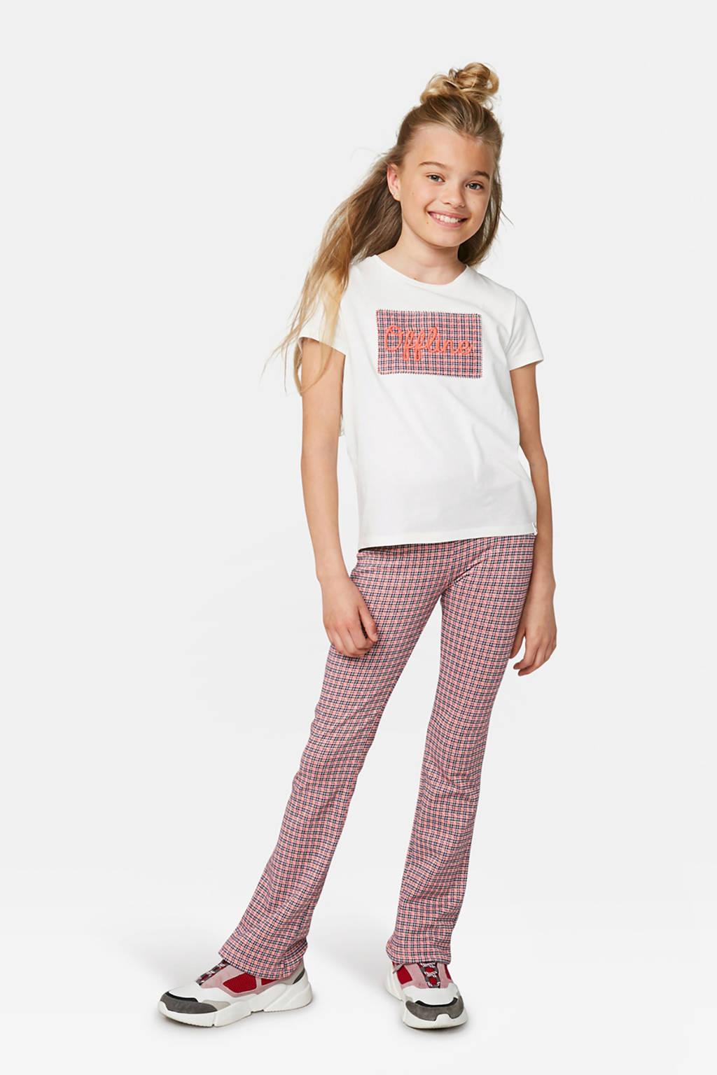 WE Fashion flared broek met pied-de-poule roze/zwart, Roze/zwart