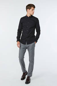 WE Fashion Fundamentals slim fit overhemd zwart, Zwart
