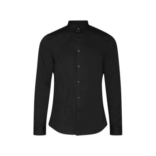 WE Fashion slim fit overhemd zwart