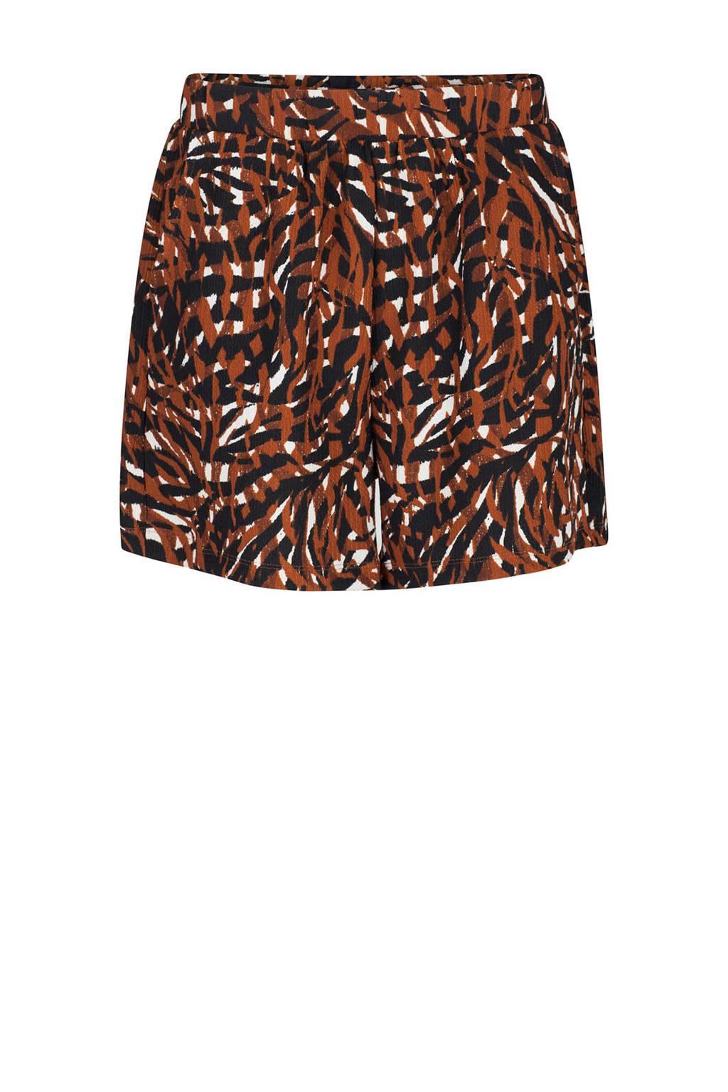 WE Fashion loose fit short met all over print bruin/zwart, Bruin/zwart