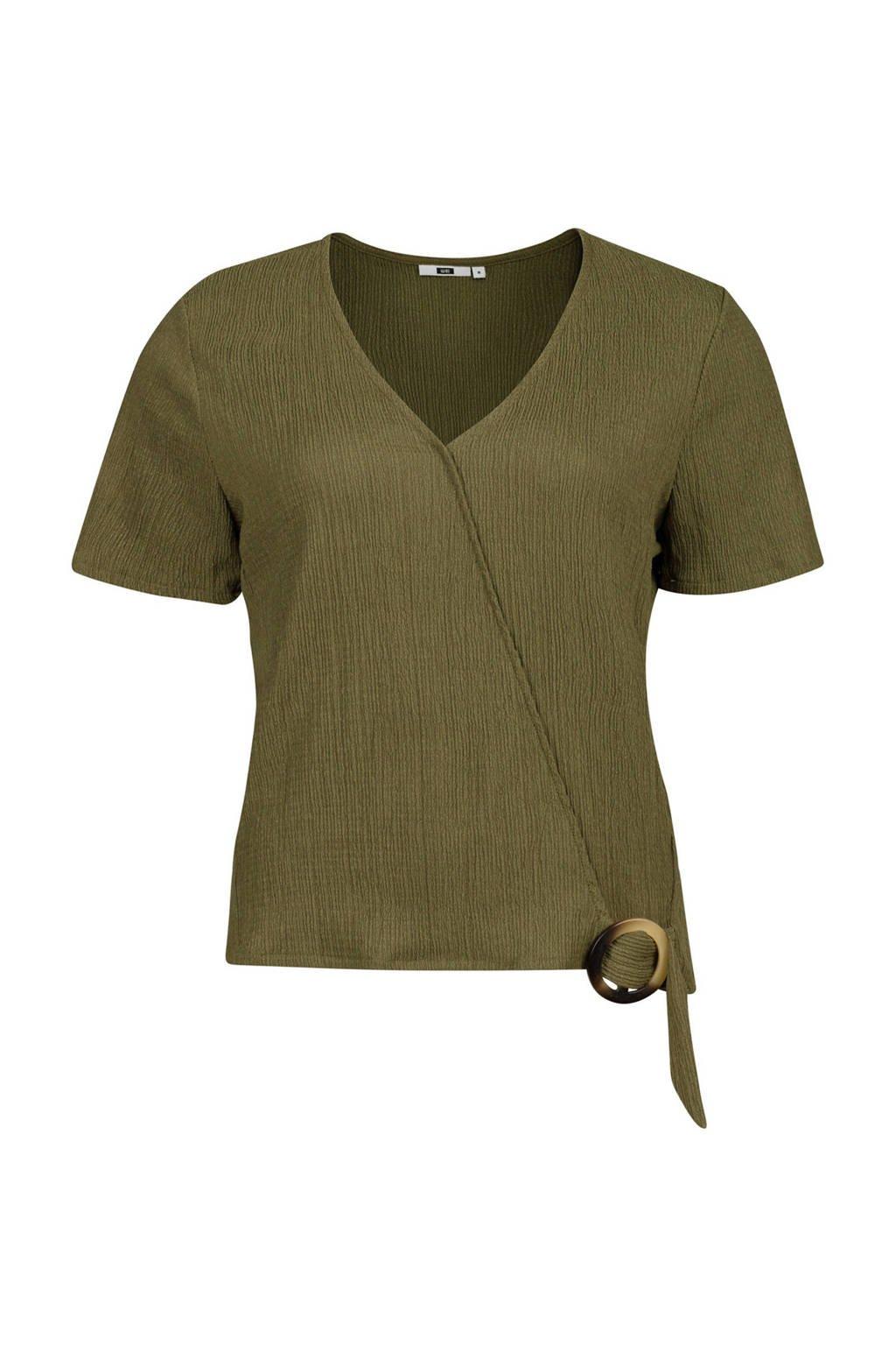 WE Fashion overslag top met overslag detail olijfgroen, Olijfgroen