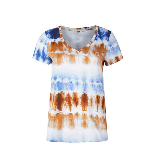 WE Fashion T-shirt met all over print wit/blauw/ca