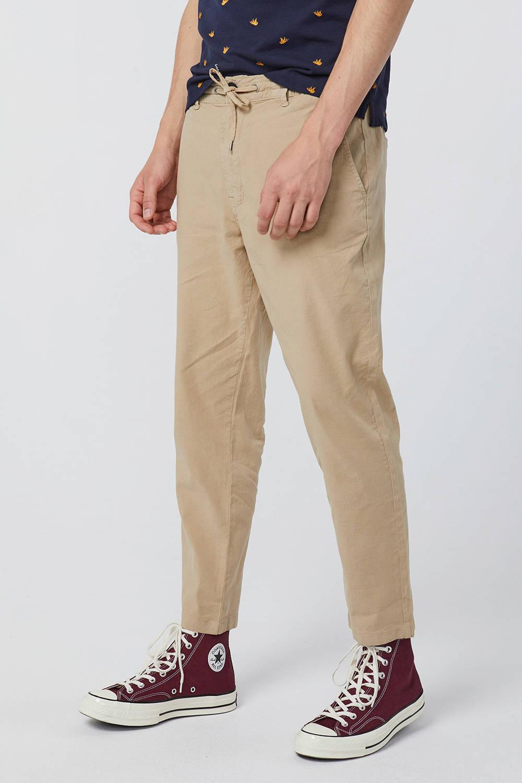 WE Fashion loose fit chino met linnen beige | wehkamp