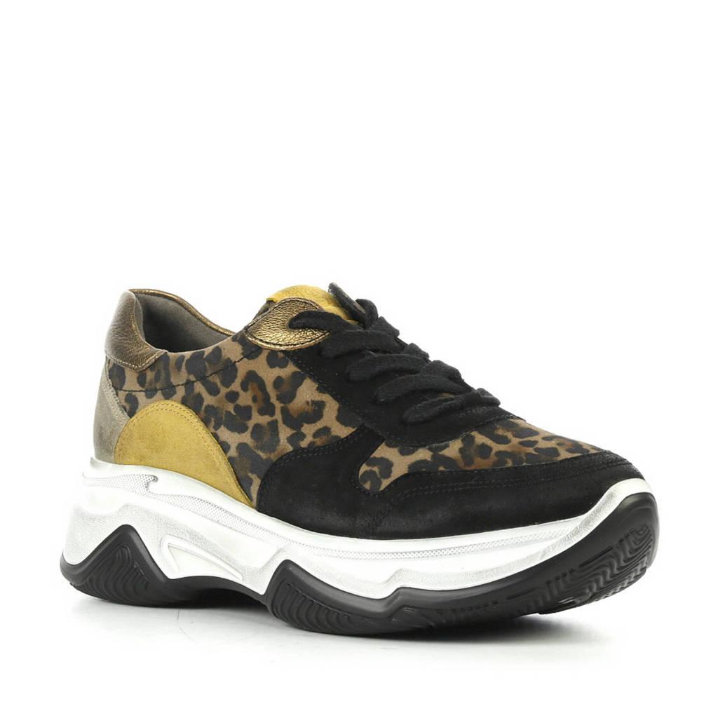 Paul Green 4764 suède sneakers met panterprint zwart, Zwart
