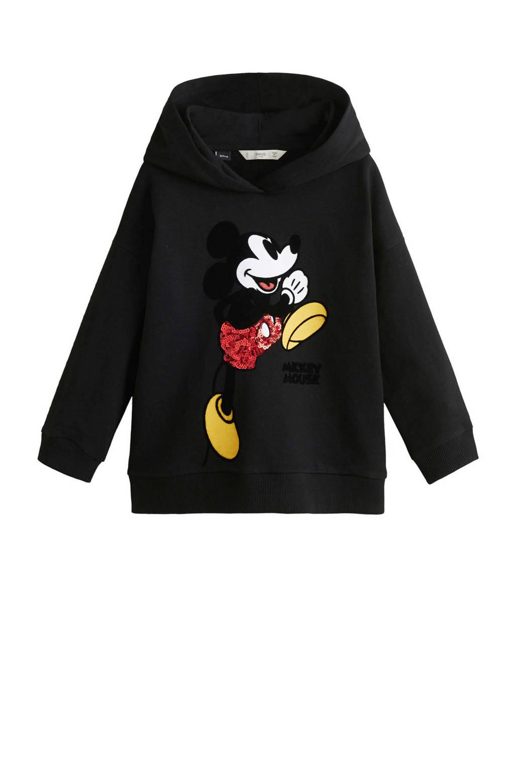 Mango Kids Mickey Mouse hoodie zwart, Zwart