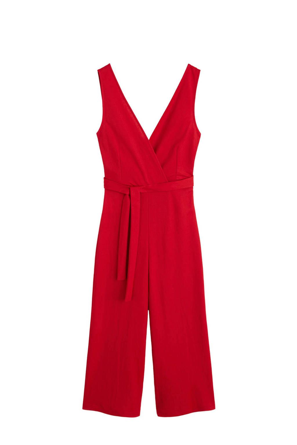 Mango jumpsuit met strikceintuur rood, Rood