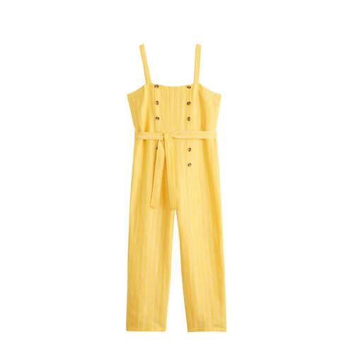 Violeta by Mango gestreepte jumpsuit geel kopen