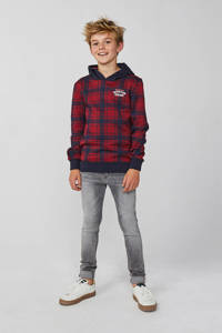 WE Fashion geruite hoodie donkerrood/blauw, Donkerrood/blauw