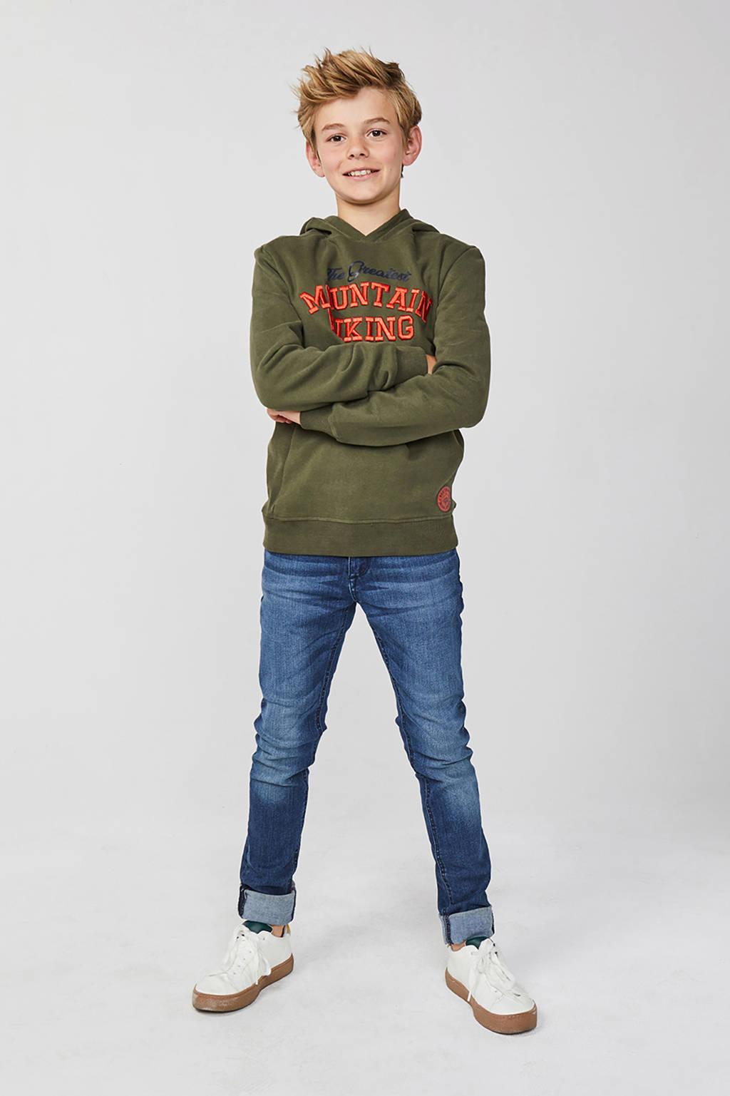 WE Fashion hoodie met tekst donkergroen, Donkergroen